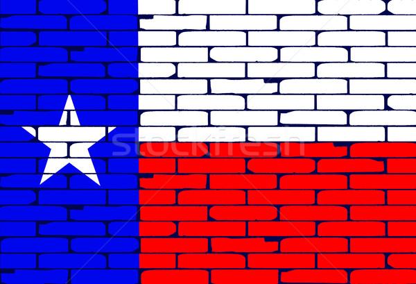 Stockfoto: Geschilderd · muur · vlag · muur · kunst · Blauw