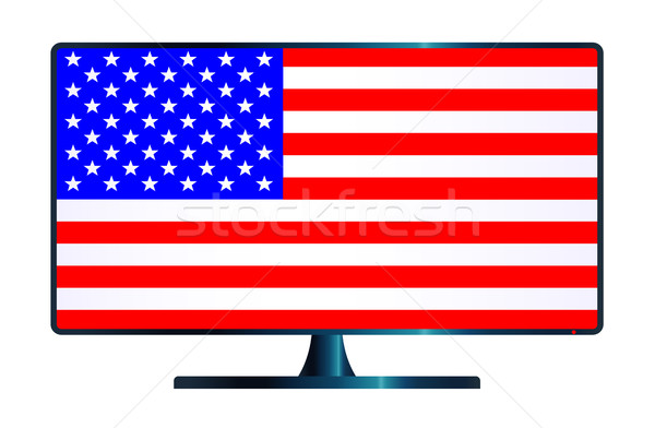 Sterren tv computerscherm USA vlag Stockfoto © Bigalbaloo
