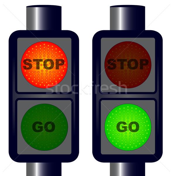 Stop közlekedési lámpa piros zöld rajz szállítás Stock fotó © Bigalbaloo