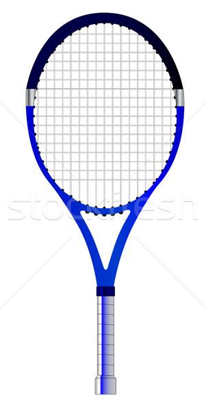 Tennisracket geïsoleerd witte groene bal oefening Stockfoto © Bigalbaloo