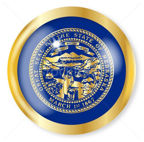 Nebraska bandeira botão ouro metal Foto stock © Bigalbaloo
