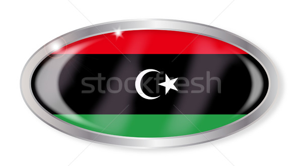 Libia banderą owalny przycisk srebrny odizolowany Zdjęcia stock © Bigalbaloo