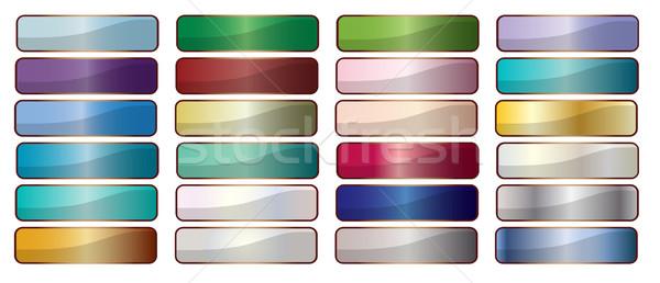 Háló gombok gyűjtemény téglalap webes ikon fehér Stock fotó © Bigalbaloo