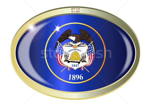 Utah pavillon ovale bouton métal isolé Photo stock © Bigalbaloo