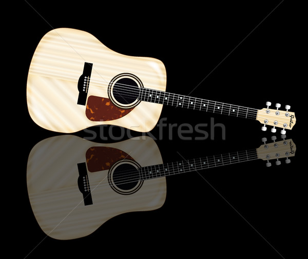 Bleek akoestische gitaar reflectie typisch geïsoleerd witte Stockfoto © Bigalbaloo