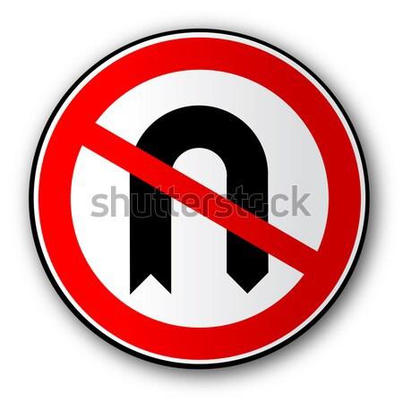 Não transformar estrada sinaleiro grande vermelho Foto stock © Bigalbaloo