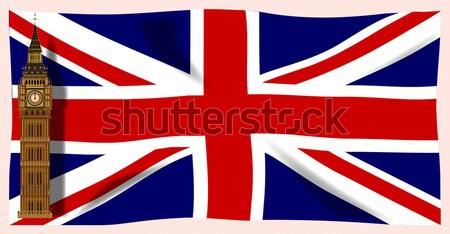 Union jack britânico bandeira azul branco desenho Foto stock © Bigalbaloo