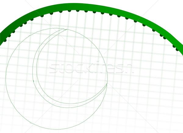 Tennisracket tennisbal schets groene kunst team Stockfoto © Bigalbaloo