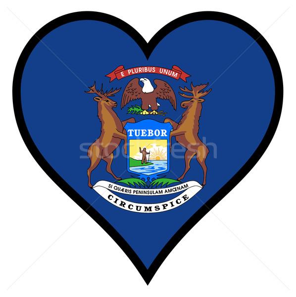 Amor Michigan bandera corazón todo blanco Foto stock © Bigalbaloo