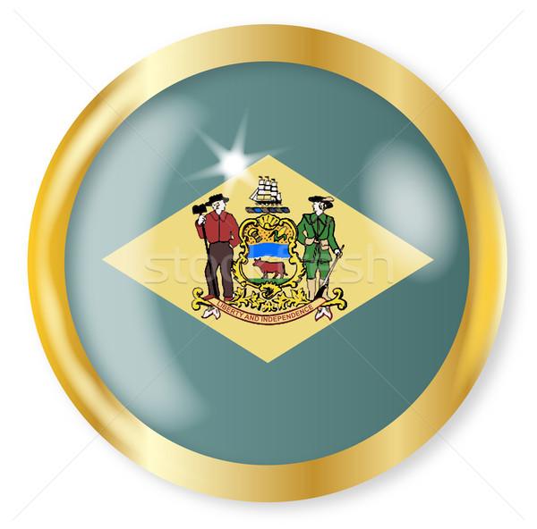 Delaware bandera botón oro metal circular Foto stock © Bigalbaloo