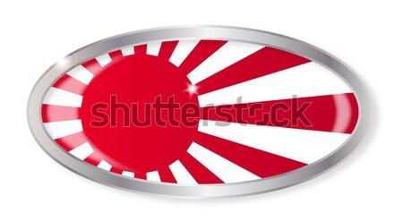 Japonés bandera oval botón plata aislado Foto stock © Bigalbaloo