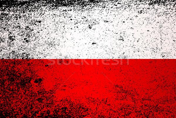 Zászló Lengyelország grunge piros fehér hatás Stock fotó © Bigalbaloo