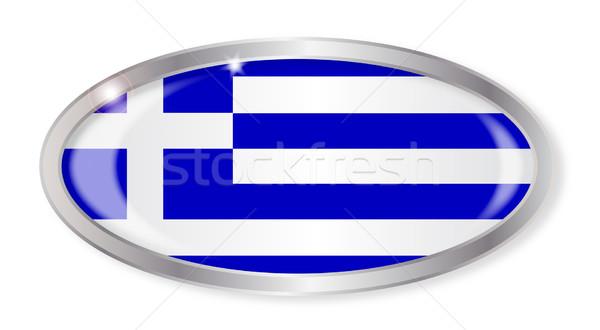 Греция флаг овальный кнопки серебро изолированный Сток-фото © Bigalbaloo
