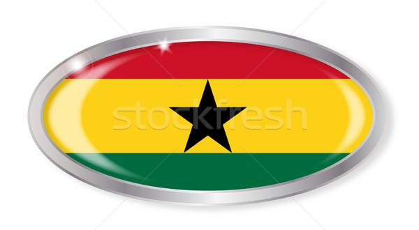 Gana bandeira oval botão prata isolado Foto stock © Bigalbaloo