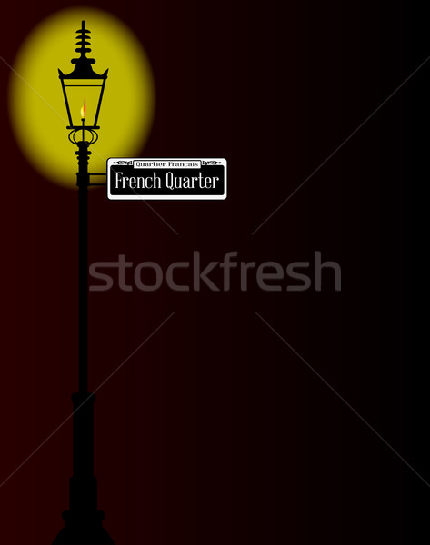 French Quarter Sign With Lamp Stock photo © Bigalbaloo