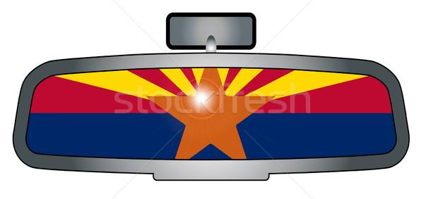 Conducción Arizona vehículo espejo bandera Foto stock © Bigalbaloo