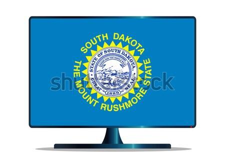 Washington bayrak tv bilgisayar ekranı bilgisayar izlemek Stok fotoğraf © Bigalbaloo