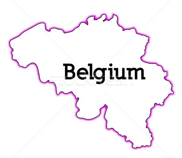 Bélgica mapa branco arte desenho Foto stock © Bigalbaloo