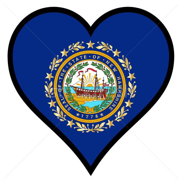 Amore New Hampshire bandiera cuore tutti bianco Foto d'archivio © Bigalbaloo