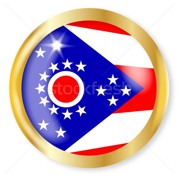 Ohio zászló gomb arany fém körkörös Stock fotó © Bigalbaloo