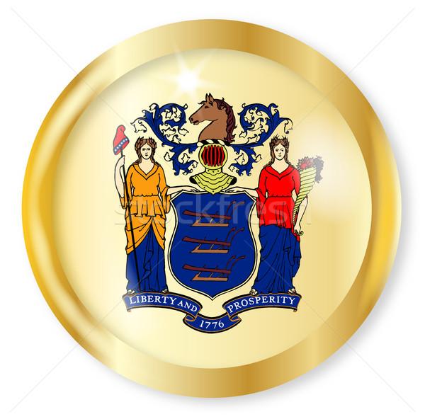 New Jersey vlag knop goud metaal Stockfoto © Bigalbaloo