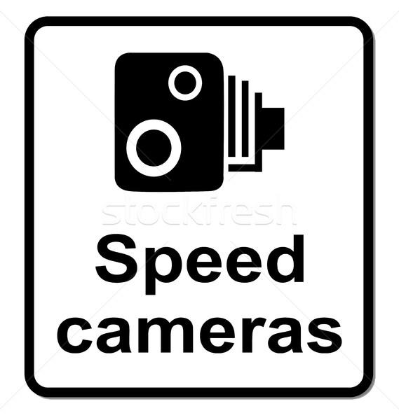 Izolált sebesség fényképezőgépek felirat hagyományos száguld Stock fotó © Bigalbaloo