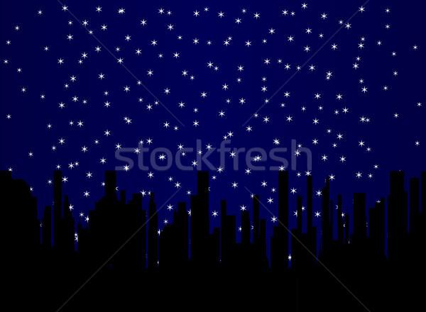 Stary Night Cityscape Stock photo © Bigalbaloo