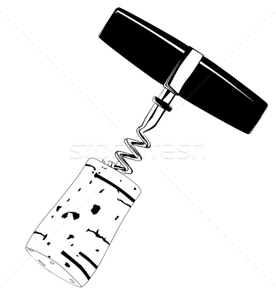 Corkscrew and Cork Drawing Stock photo © Bigalbaloo