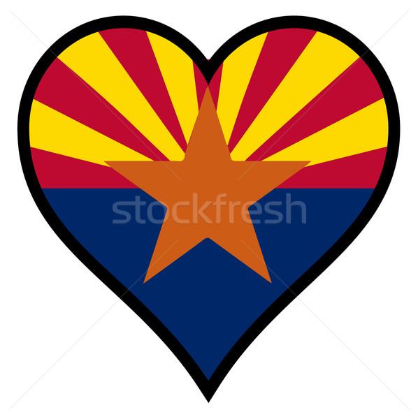 Liefde Arizona vlag hart alle witte Stockfoto © Bigalbaloo