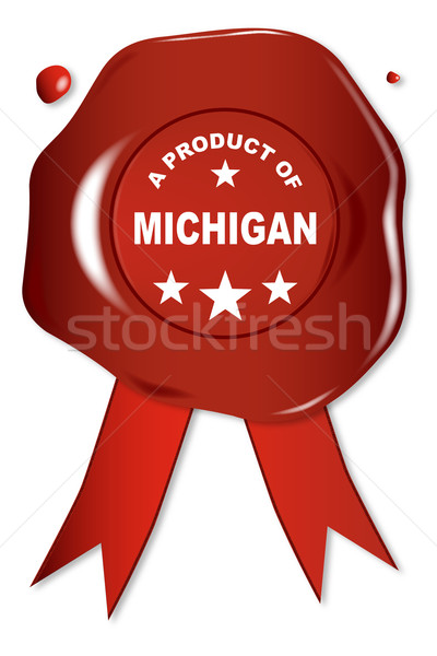Product Michigan wax zegel tekst Rood Stockfoto © Bigalbaloo