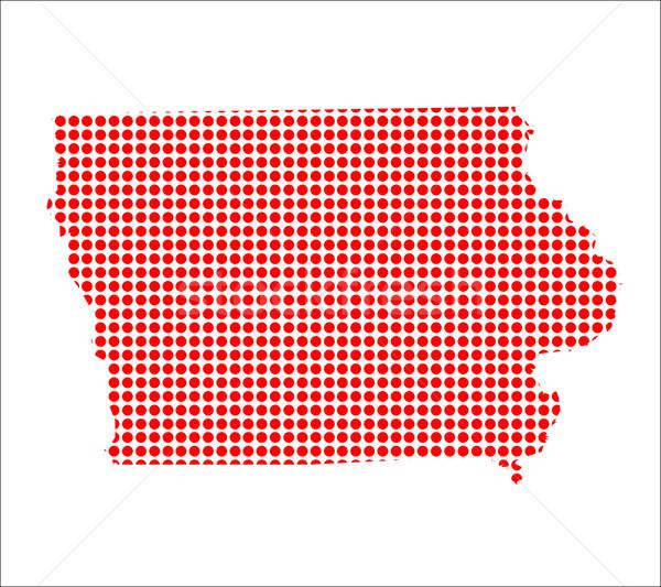 Piros pont térkép Iowa háttér fém Stock fotó © Bigalbaloo