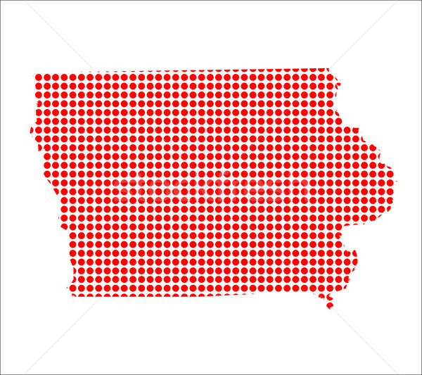Red Dot Map of Iowa Stock photo © Bigalbaloo