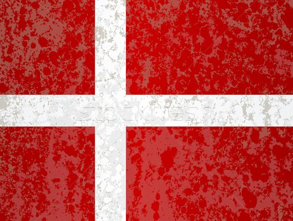 Vlag Denemarken grunge Rood witte achtergrond Stockfoto © Bigalbaloo