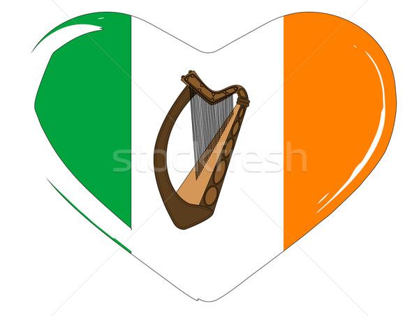 Irish Flag Heart Stock photo © Bigalbaloo