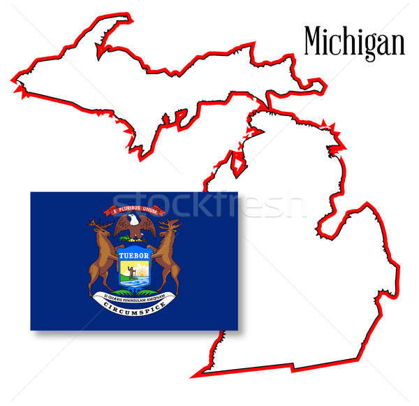 Michigan State Map and Flag Stock photo © Bigalbaloo
