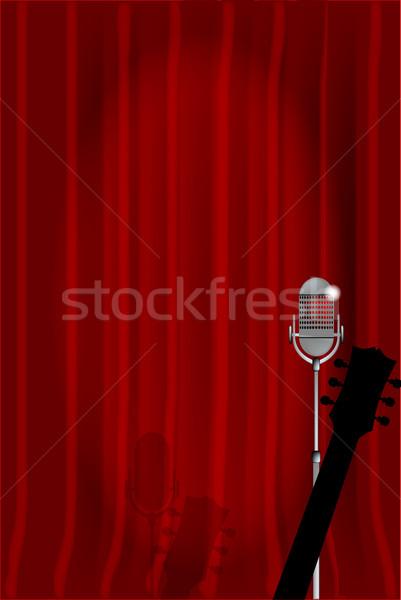 Akusztikus éjszaka mikrofon akusztikus gitár kész színpad Stock fotó © Bigalbaloo