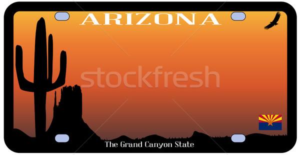 Arizona rendszámtábla zászló sivatag ikonok fehér Stock fotó © Bigalbaloo