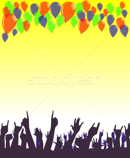 Buli kezek csoport léggömbök boldog születésnap Stock fotó © Bigalbaloo