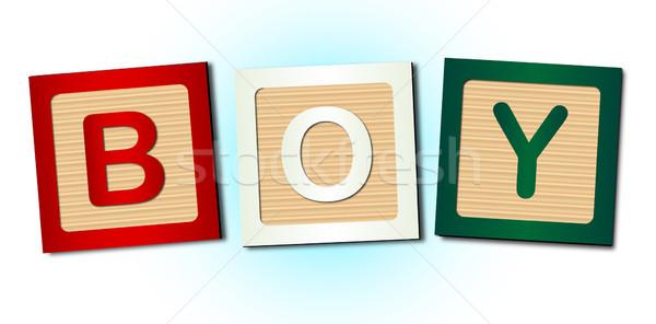 Chłopca słowo bloków kolekcja litery Zdjęcia stock © Bigalbaloo