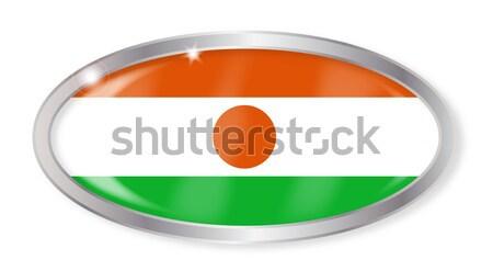 Niger pavillon ovale bouton argent isolé Photo stock © Bigalbaloo
