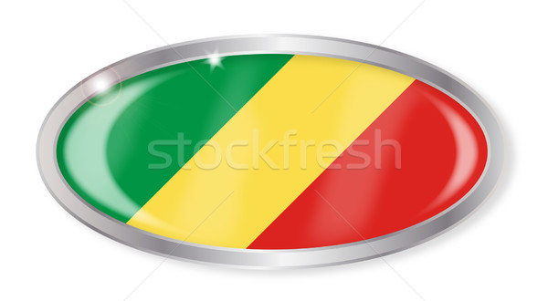 República Congo bandera oval botón plata Foto stock © Bigalbaloo