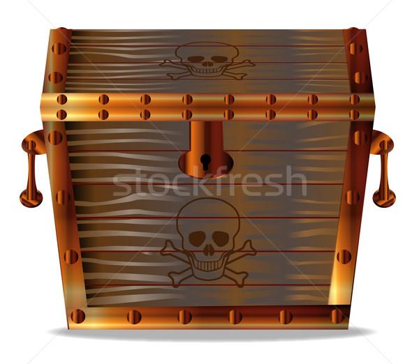 Piraten schatkist gesloten houten geïsoleerd witte Stockfoto © Bigalbaloo
