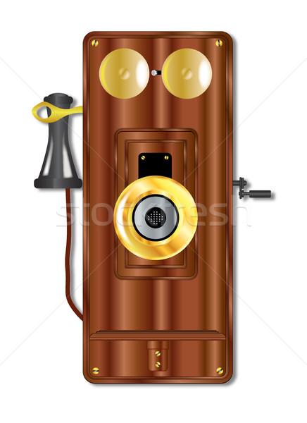 Early Wooden Telephone Stock photo © Bigalbaloo