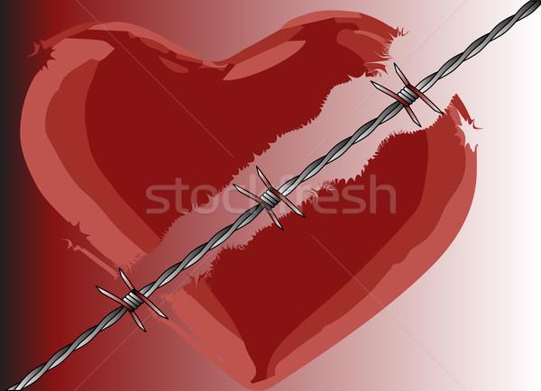 Résistant amour barbelés douleur clôture Photo stock © Bigalbaloo