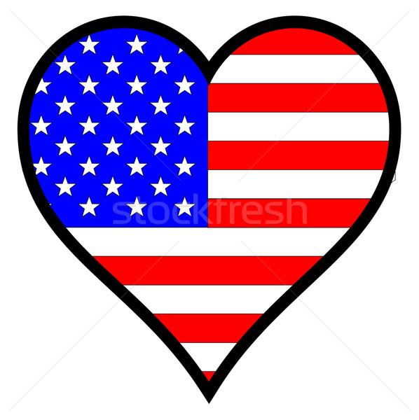Amor América bandera de Estados Unidos corazón todo blanco Foto stock © Bigalbaloo