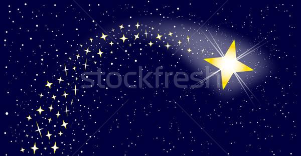 Brilhante Estrela Ceu Noite Natal Desenho Foto Stock