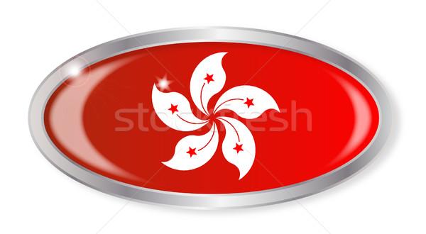Hongkong banderą owalny przycisk srebrny odizolowany Zdjęcia stock © Bigalbaloo