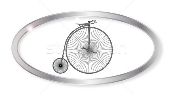 Penny ovaal knop zilver fiets geïsoleerd Stockfoto © Bigalbaloo