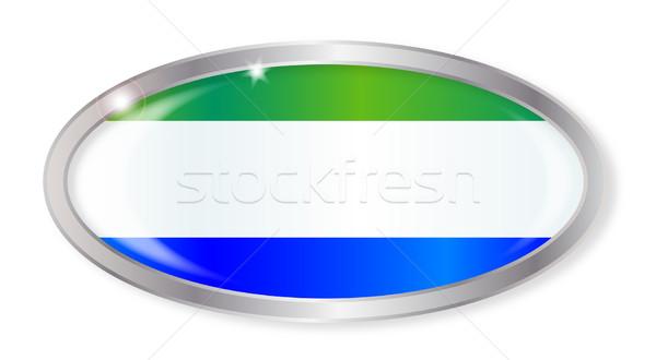Sierra Leone Flag Oval Button Stock photo © Bigalbaloo