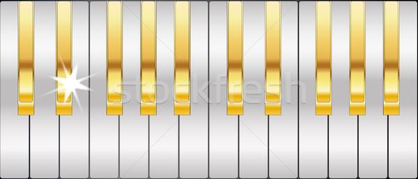 золото серебро клавиши пианино полный размер металл Сток-фото © Bigalbaloo